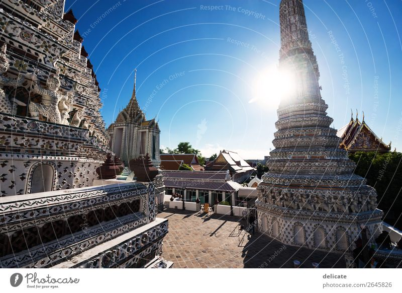 Wat Arun Sky Sun Town Church Palace Manmade structures Building Architecture Tourist Attraction Landmark Monument Discover Relaxation Thailand Bangkok Asia