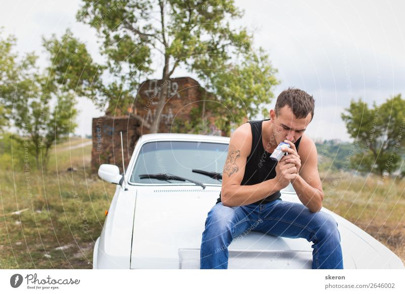 brutal guy sitting on the car and Smoking a cigarette Human being Nature Vacation & Travel Youth (Young adults) Man Far-off places 18 - 30 years Street