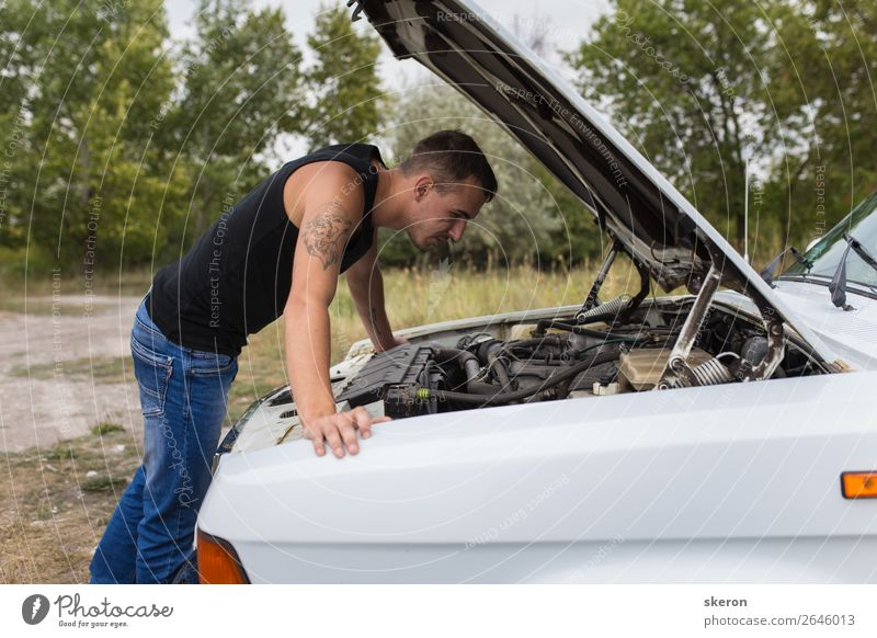 young guy repairing an old car Lifestyle Style Leisure and hobbies Playing Vacation & Travel Tourism Trip Adventure Human being Masculine Young man