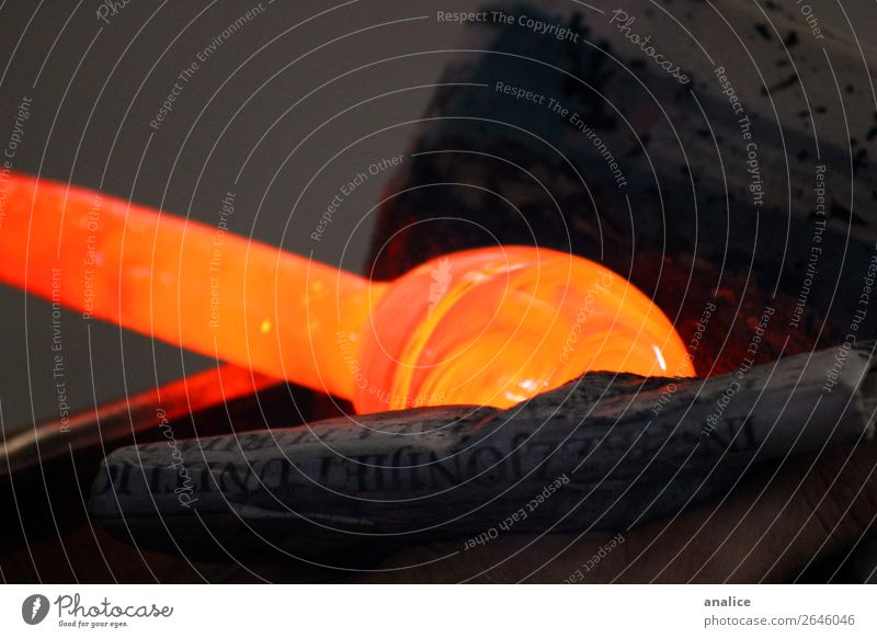 hot glass Newspaper Old Glass Paper Cleaning Hot Orange Wrapping paper Workplace Workshop Factory Mold Detail Colour photo Subdued colour