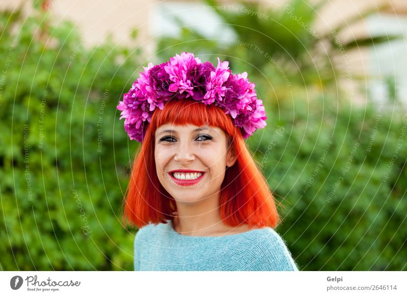 Attractive red haired girl with wreath of flowers Lifestyle Style Joy Happy Beautiful Hair and hairstyles Face Wellness Calm Summer Human being Woman Adults