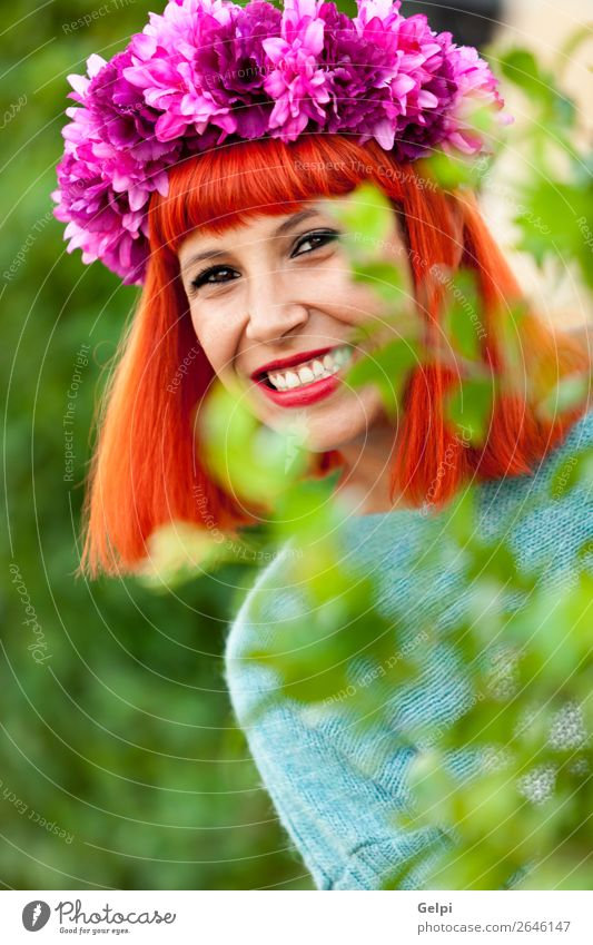 Attractive red haired girl with wreath of flowers Woman Human being Summer Beautiful White Red Flower Calm Joy Face Lifestyle Adults Happy Style Fashion