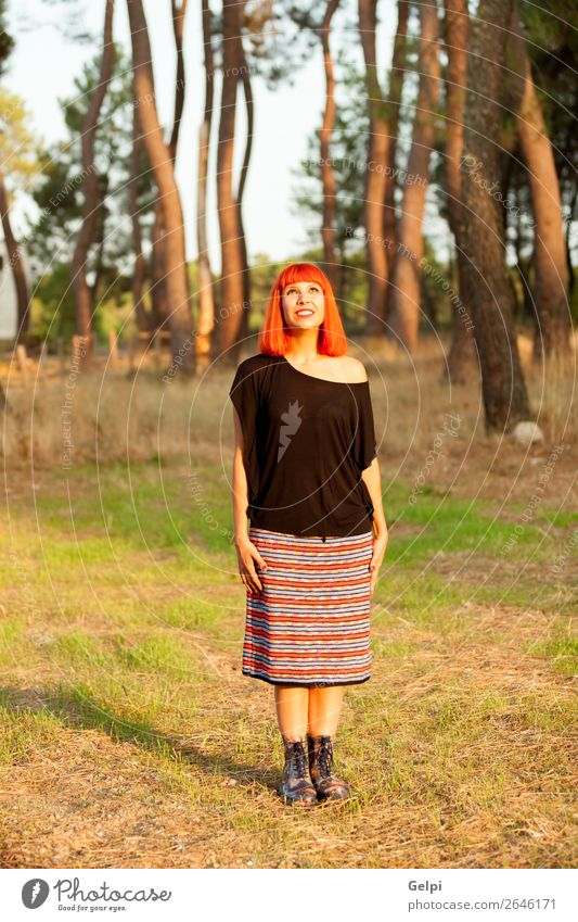 Red haired woman enjoing of the a sunny day Lifestyle Happy Beautiful Face Freedom Human being Woman Adults Nature Tree Park Forest Fashion Skirt Red-haired