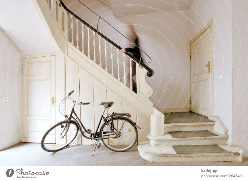 Human being House (Residential Structure) Flat (apartment) Going Bicycle Leisure and hobbies Stairs Masculine Speed Living or residing Lifestyle Car door
