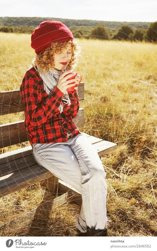 A young woman in red plaid shirt taking a cup Breakfast Beverage Hot drink Coffee Tea Lifestyle Wellness Well-being Relaxation Calm Vacation & Travel Adventure