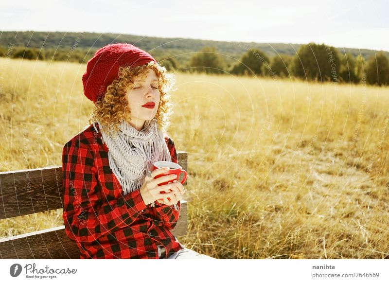 Front portrait of a young woman in red plaid Breakfast Beverage Drinking Hot drink Coffee Tea Lifestyle Joy Wellness Well-being Relaxation Calm