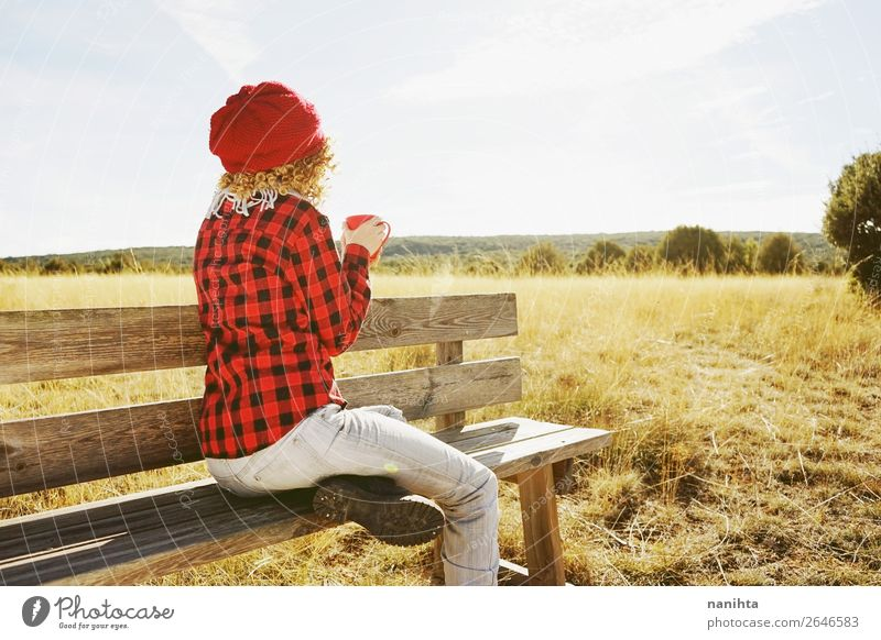 young woman from behind having breakfast outdoors Breakfast Beverage Hot drink Coffee Tea Lifestyle Relaxation Calm Vacation & Travel Adventure Far-off places