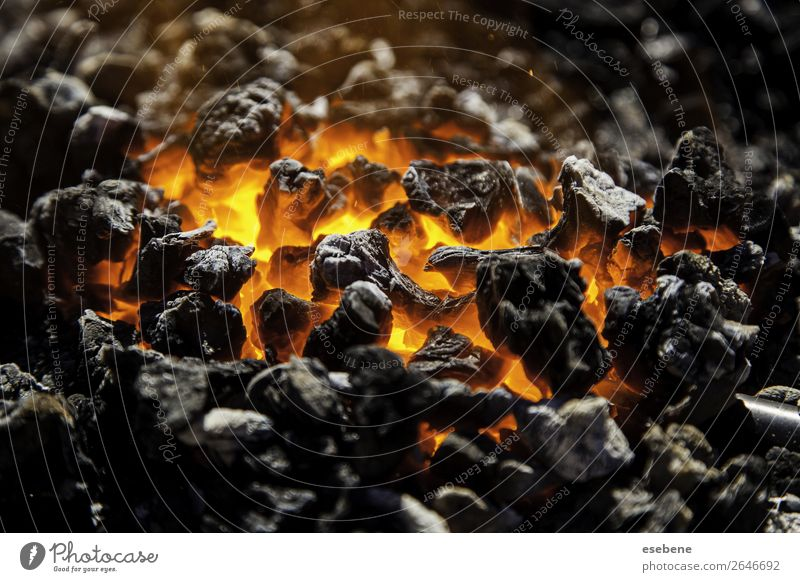 Red hot carbon in a coals for cooking Summer Warmth Hot Bright Yellow Black Energy Colour Coal fire wood burning Embers background charcoal heat barbecue flame