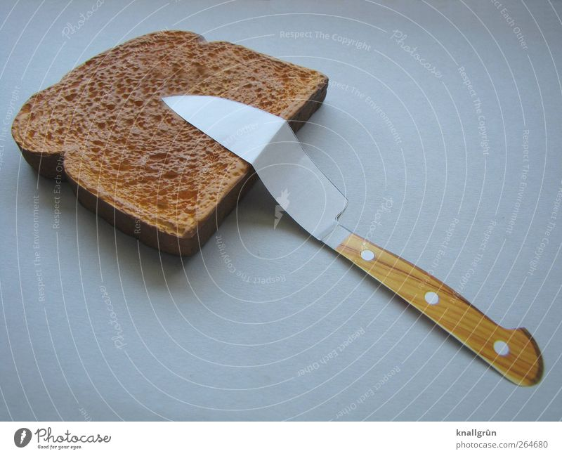 matched Food Dough Baked goods Bread Toast Nutrition Breakfast Dinner Cutlery Knives Lie Exceptional Brown Gray Bend Colour photo Studio shot Deserted