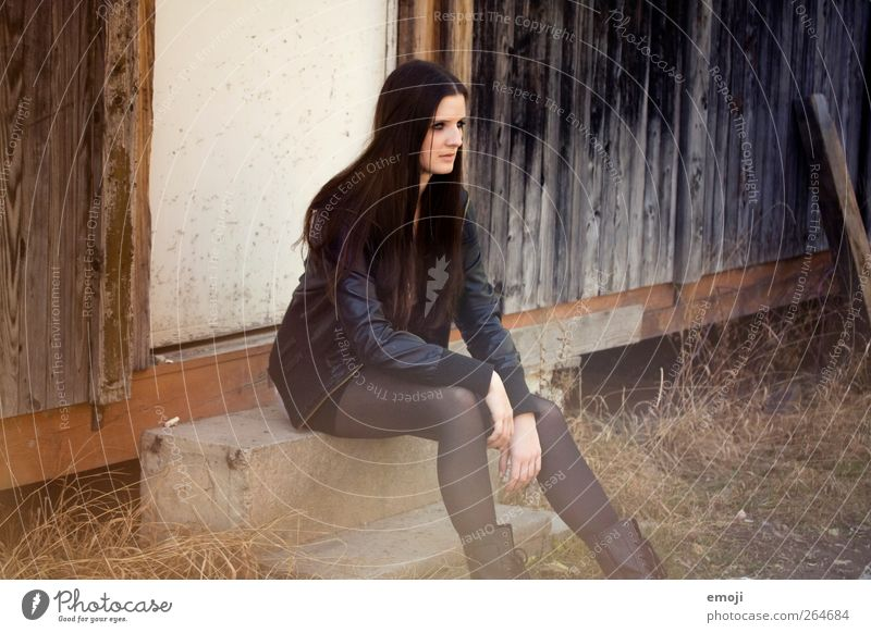 America Feminine Young woman Youth (Young adults) 1 Human being 18 - 30 years Adults Fashion Jacket Leather Brunette Long-haired Beautiful Colour photo