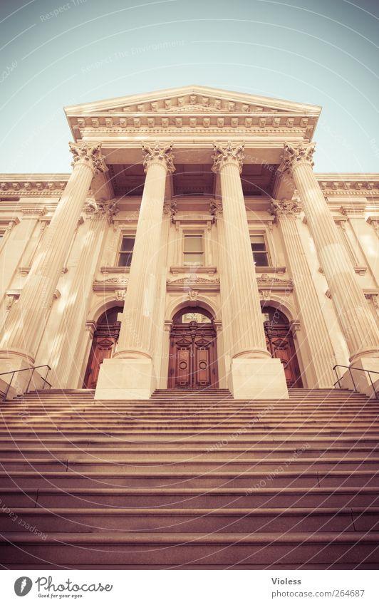 Architecture Building Door Facade Stairs Large Manmade structures Historic Column Front door New York