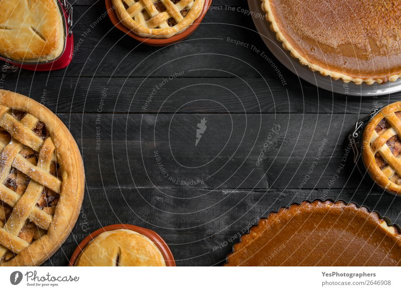 Various traditional pies. Top view with copy space Cake Dessert Candy Table Kitchen Feasts & Celebrations Thanksgiving Wood Exceptional Sweet Many Black