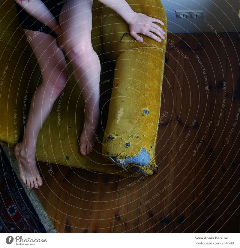 Human being Youth (Young adults) House (Residential Structure) Adults Naked Legs Feet Room Sit Masculine Young woman Broken 18 - 30 years Retro Bottom Sofa