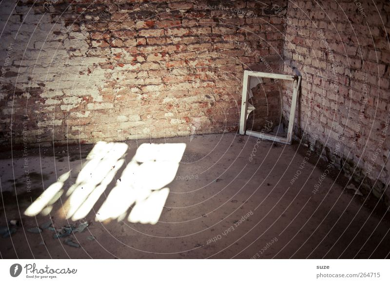 Old Window Wall (building) Stone Wall (barrier) Building Interior design Room Dirty Floor covering Broken Corner Transience Brick Past Decline