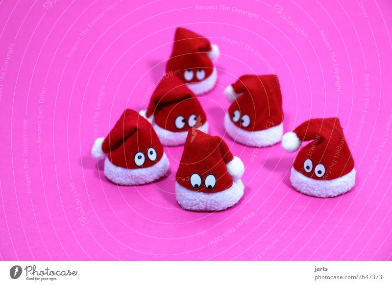 christmas team pink IV Christmas & Advent Cap Looking Exceptional Cute Pink Red White Curiosity Surprise Santa Claus hat Christmas decoration eyes Meditative