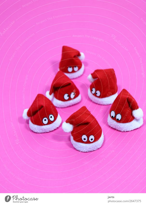 christmas team pink V Christmas & Advent Cap Looking Funny Cute Pink Red White Curiosity Surprise Santa Claus hat Eyes Colour photo Interior shot Studio shot