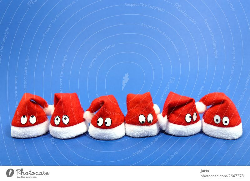 christmas team blue I Christmas & Advent Eyes 6 Human being Group Cap Looking Funny Curiosity Cute Blue Red White Marvel Think Santa Claus hat Team Wait