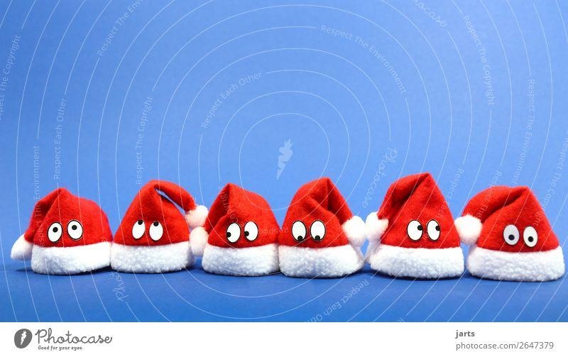 christmas team blue IV Cap Funny Blue Red White Multiple Santa Claus hat Christmas & Advent Eyes Team Colour photo Multicoloured Studio shot Close-up Detail