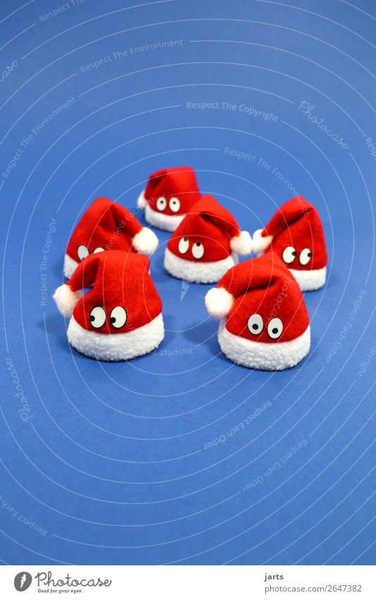 christmas team blue II Christmas & Advent Face 6 Human being Group Cap Think Funny Blue Red White Curiosity Surprise Meditative Santa Claus hat Team Friendship