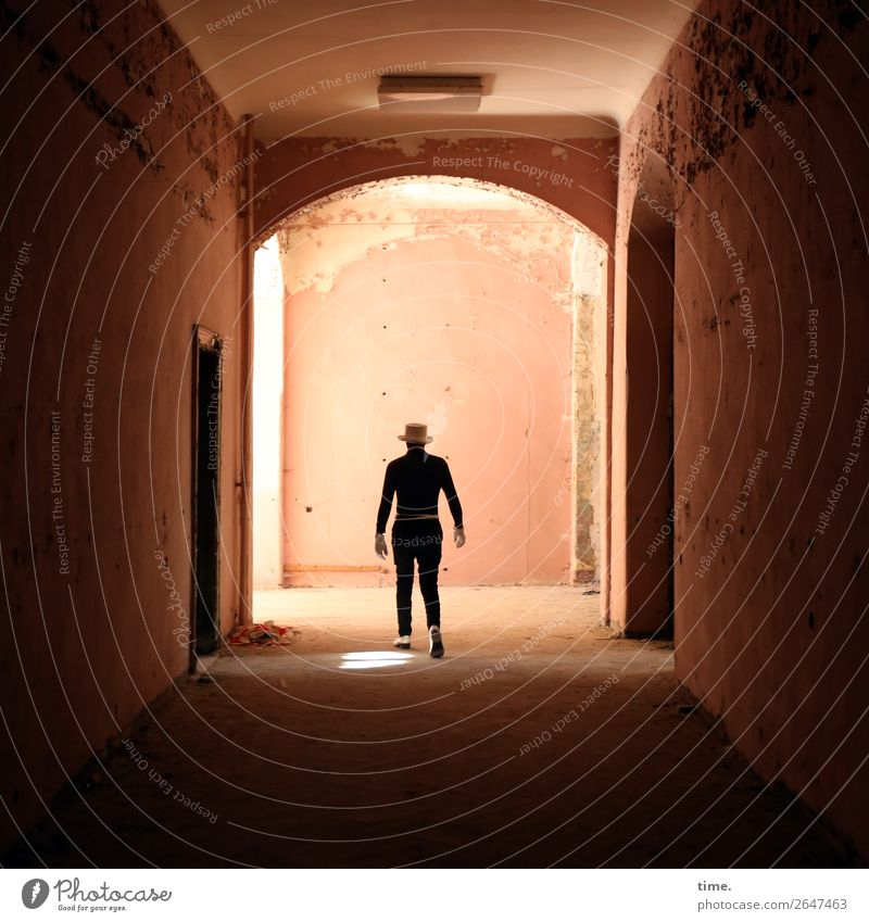 lost place still walking Masculine Man Adults 1 Human being Artist Actor Ruin Wall (barrier) Wall (building) Hallway lost places Suit Gloves Footwear Hat Going