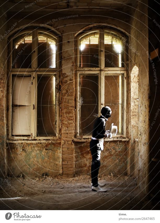Human being Man Window Architecture Adults Life Wall (building) Wall (barrier) Exceptional Masculine Dirty Footwear Stand Transience Broken Observe
