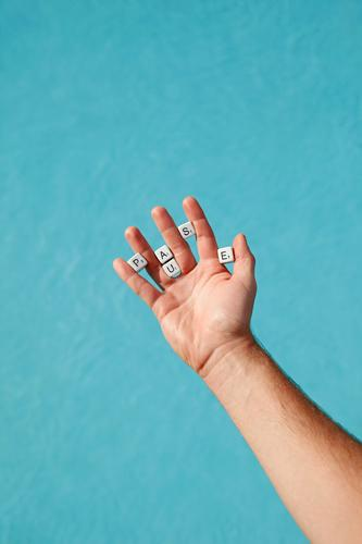Blue Hand Lifestyle Freedom Leisure and hobbies Body Creativity To enjoy Fingers Sign Break Letters (alphabet) Symbols and metaphors Swimming pool Exhaustion