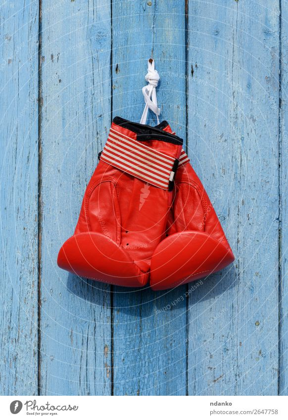 red leather boxing gloves hang on a nail Fitness Sports Sports Training Leather Gloves Hang Blue Red Power Protection Colour Competition Boxing Hanging