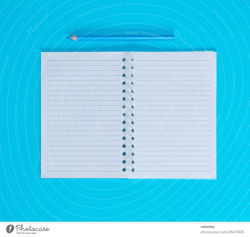 notebook with empty white sheets in line School Office Business Book Paper Piece of paper Pen Wood Write Above Blue White study background Blank