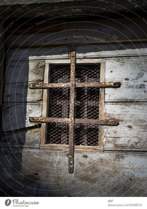 dungeons Vacation & Travel Tourism Trip Adventure Santo Stefano Italy Europe Village Castle Ruin Door Peephole Wood Metal Rust Old Dark Historic Blue Guilty