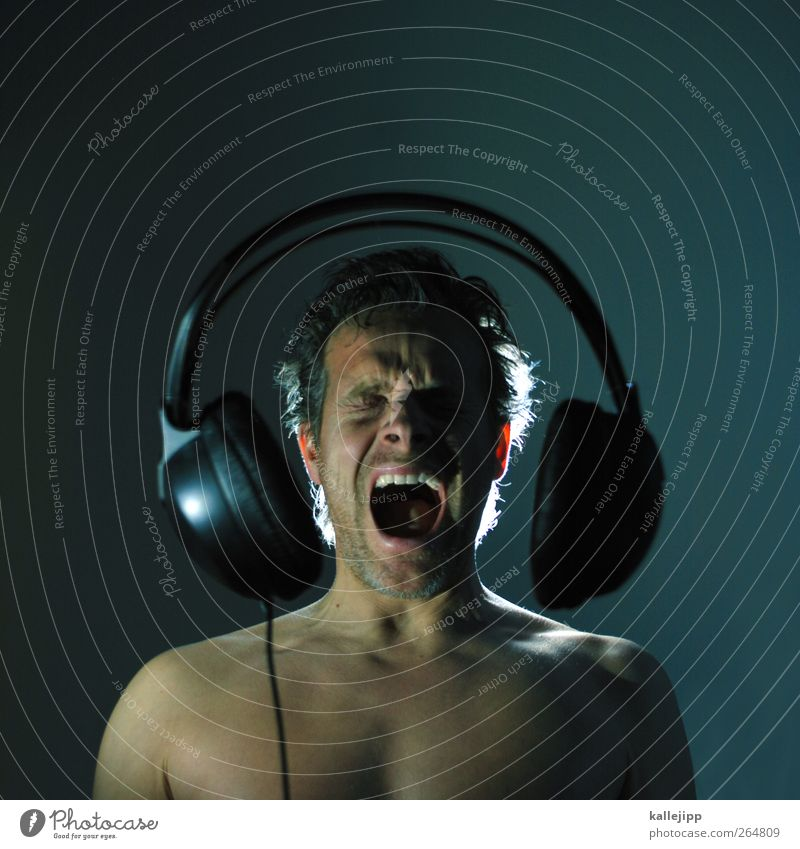 Human being Music Body Skin Large Masculine Cable Technology Listening Scream Rock music Loudspeaker Headphones Sing