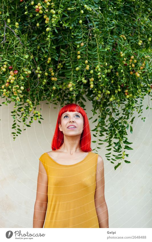Red haired woman with yellow dress Lifestyle Style Joy Happy Beautiful Hair and hairstyles Face Wellness Calm Summer Human being Woman Adults Nature Plant Park