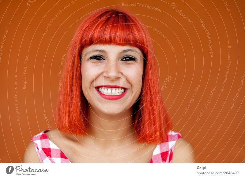 Red haired woman with red checkered dress Woman Human being Summer Beautiful White Eroticism Joy Face Lifestyle Adults Happy Style Fashion Hair and hairstyles