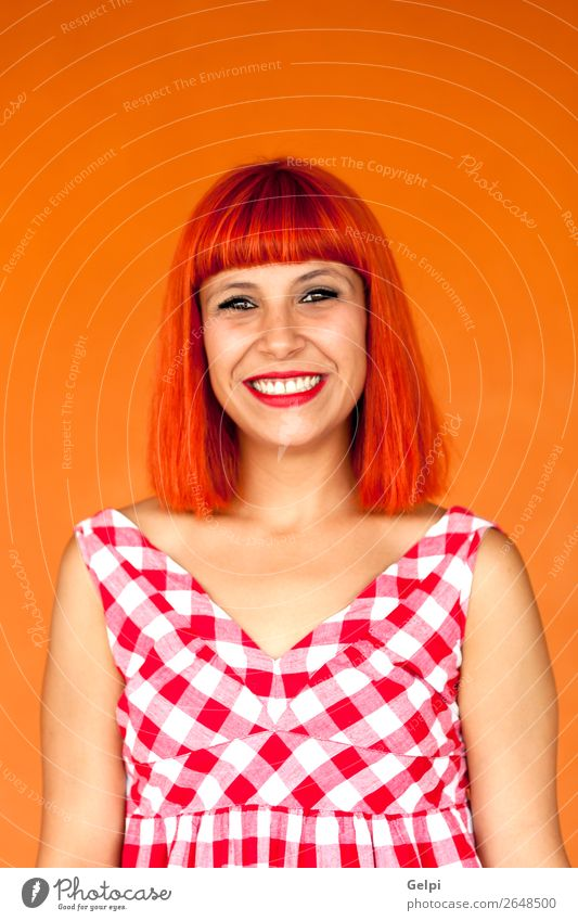 Red haired woman with red checkered dress Lifestyle Style Joy Happy Beautiful Hair and hairstyles Face Wellness Summer Human being Woman Adults Fashion Dress