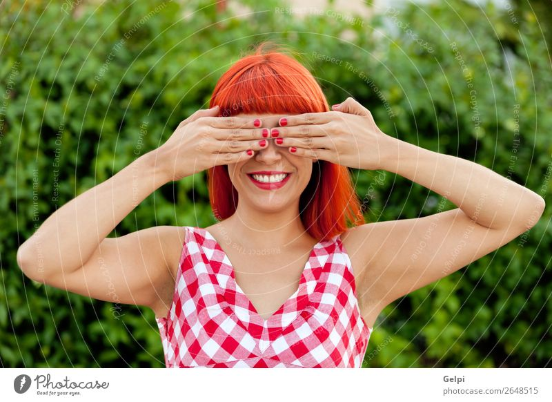 Red haired woman covering her eyes Lifestyle Style Joy Happy Beautiful Hair and hairstyles Face Wellness Calm Playing Summer Human being Woman Adults Nature
