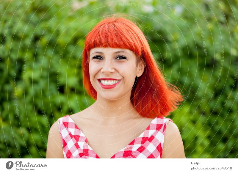 Red haired pretty woman Lifestyle Style Joy Happy Beautiful Hair and hairstyles Face Wellness Calm Summer Human being Woman Adults Park Fashion Dress Smiling