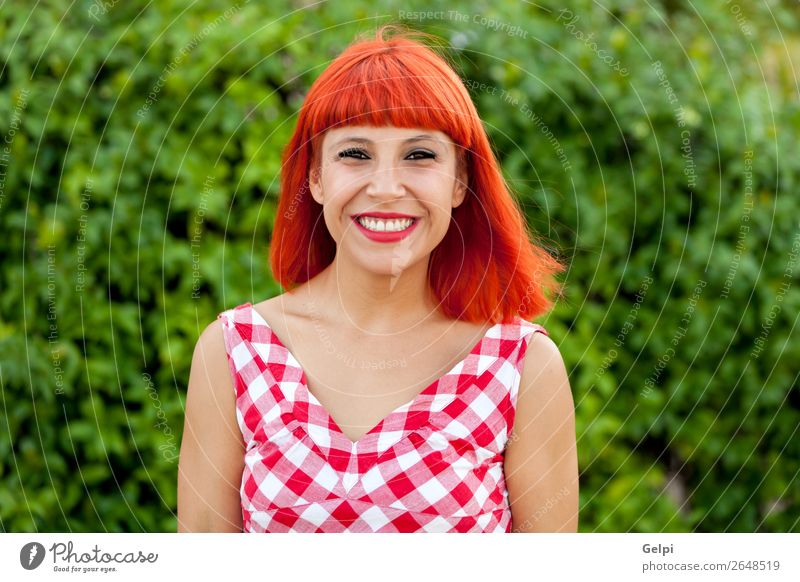 Red haired woman relaxed in the park Lifestyle Style Joy Happy Beautiful Hair and hairstyles Face Wellness Calm Summer Human being Woman Adults Park Fashion