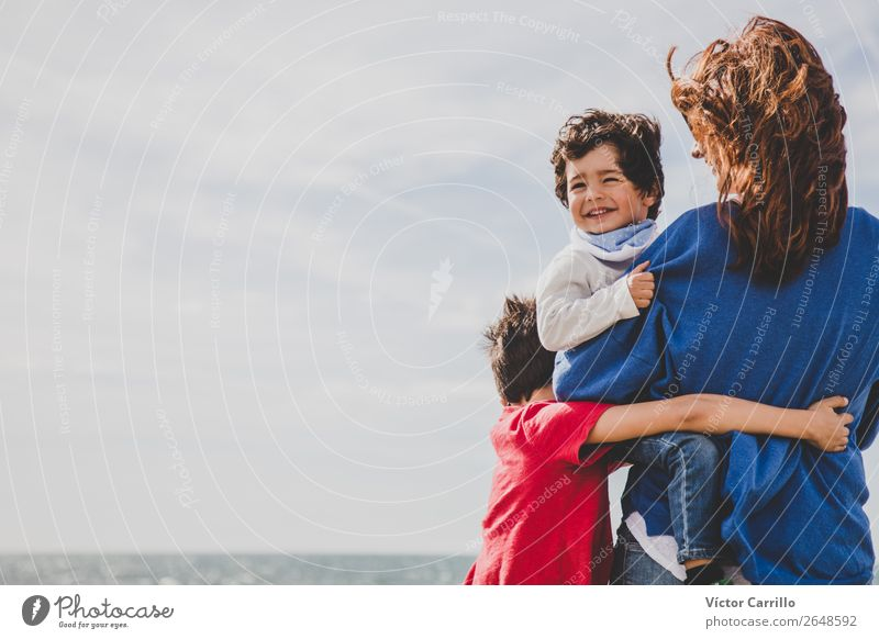 Happy baby with brother and mother Woman Child Human being Lifestyle Adults Love Feminine Boy (child) Masculine Infancy Happiness Baby Mother Education