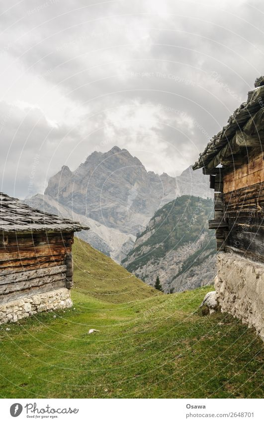 Prags high alp Italy South Tyrol Alps Mountain Rock Stone Peak Landscape Dolomites Hiking Mountaineering Climbing Nature Untouched Alpine pasture Barn Farm