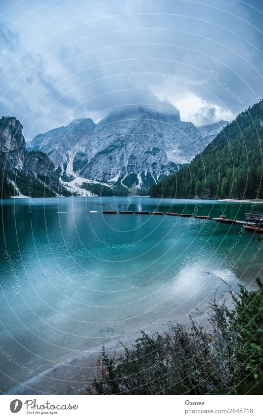 Prafser Wildsee - Lago di braies Environment Nature Landscape Plant Elements Earth Air Water Sky Clouds Summer Weather Alps Mountain South Tyrol Lake