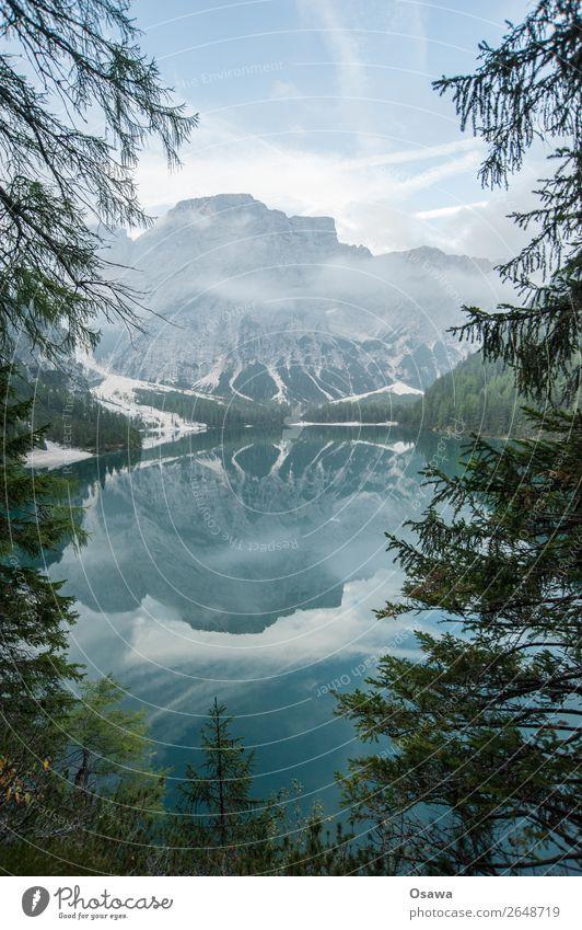 Braies Wild Lake - Lago di Braies Environment Nature Landscape Tree Water Sky Clouds Alps Mountain South Tyrol Pragser Wildsee Lake Prags Wildsee Hiking Blue