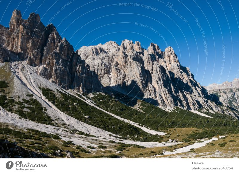 South Tyrol Italy Alps Mountain Rock Stone Peak Landscape Dolomites Hiking Mountaineering Climbing Nature Untouched Alpine pasture Meadow Tall High Alps Sky
