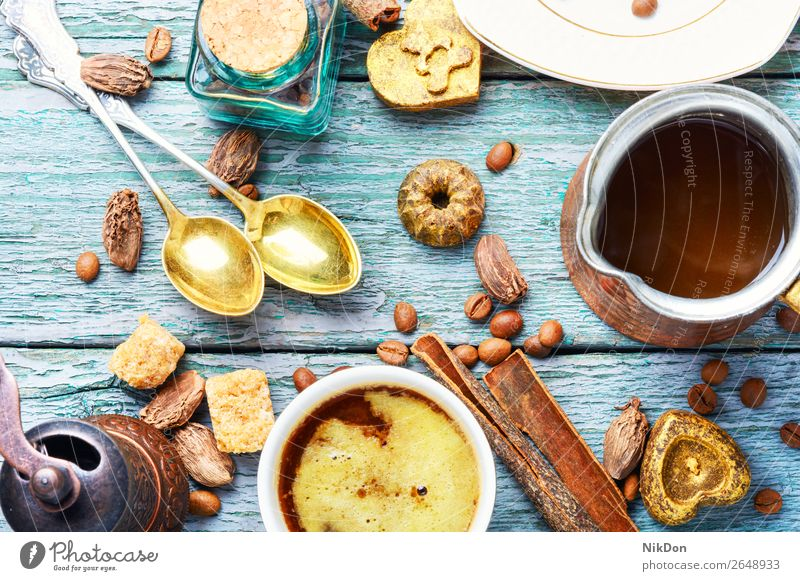 Cup Turkish coffee and roasted bean cup candy sweetness chocolate drink caffeine food dessert brown table delicious cocoa beverage cinnamon confectionery bonbon