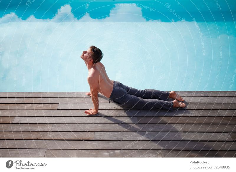 #AS# skywards 1 Human being Esthetic Yoga Relaxation Wellness Concentrate Consciousness Calm Idyll Swimming pool Vacation mood Break Man Masculine Posture Body