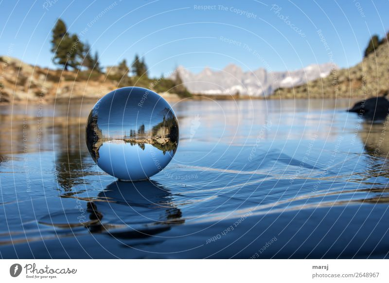 Nature Blue Landscape Calm Mountain Autumn Exceptional Lake Ice Alps Frost Harmonious Sphere Gigantic Mountain lake Glass ball