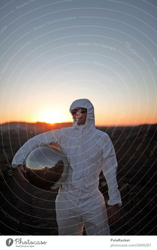 #AS# Big marble Human being Masculine Young man Youth (Young adults) Esthetic Suit Costume Carnival costume Mars Astronaut Discover Silver Helmet Moon Sunset