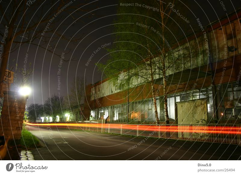 long-term exposure Night House (Residential Structure) Building Lantern Speed Fence Wall (barrier) Tree Bushes Red Black Dark Long exposure Street Company Gate