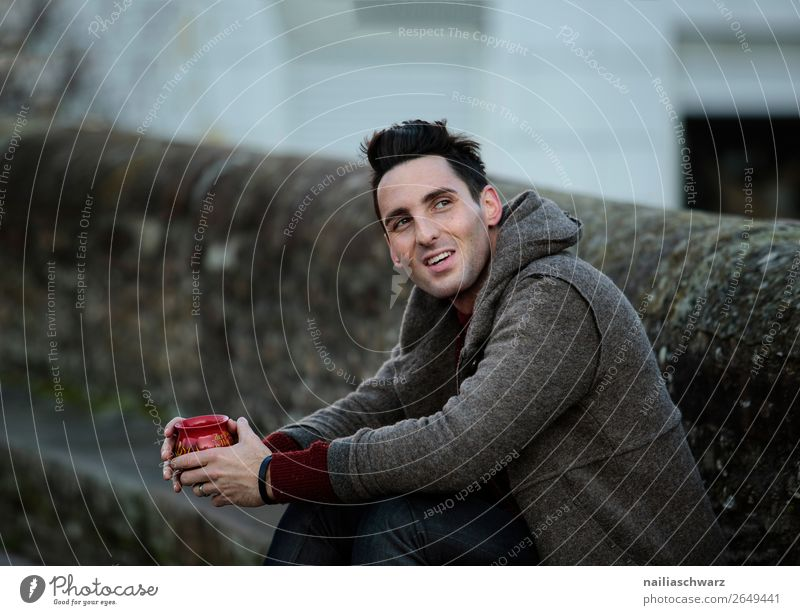 Portrait Beverage Drinking Hot drink Tea Alcoholic drinks Mulled wine Lifestyle Style Joy Happy Tourism Trip Winter Christmas & Advent Masculine Young man