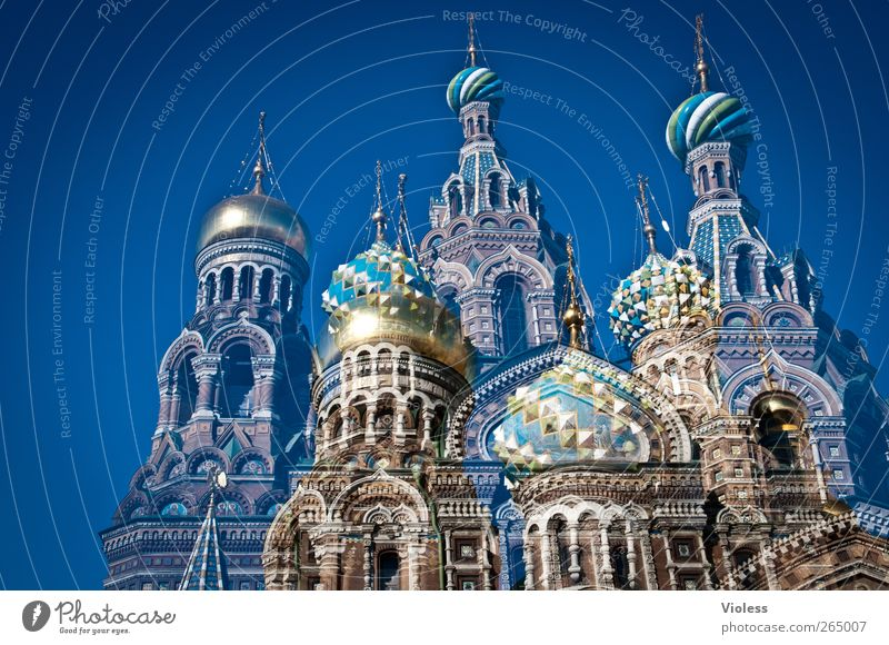 Architecture Building Church Manmade structures Belief Historic Monument Landmark Double exposure Tourist Attraction Russia Cathedral Port City St. Petersburgh Onion tower Church of the ressurection