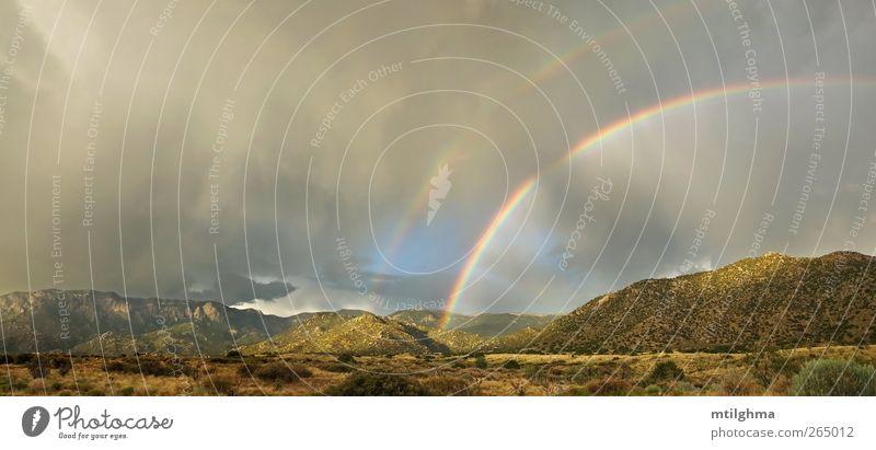 Desert double rainbow in storm Vacation & Travel Tourism Nature Landscape Clouds Storm Fog Rain Yellow sandia sandia mountains desert New Mexico Albuquerque