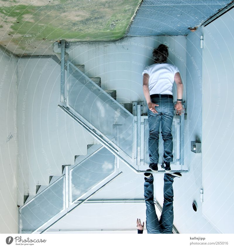 Human being Man Adults Wall (building) Wall (barrier) Body Facade Stairs Masculine Stand Car door Jeans Handrail Fitness Hang Chucks